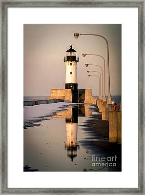 Framed Print featuring the photograph North Pier Sunset Melt by Mark David Zahn Photography