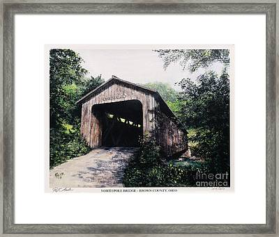North Pole Covered Bridge Brown County Ohio Framed Print by Rita Miller