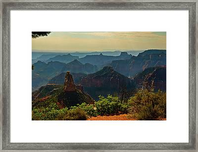 Framed Print featuring the photograph North Rim Grand Canyon Imperial Point by Bob and Nadine Johnston