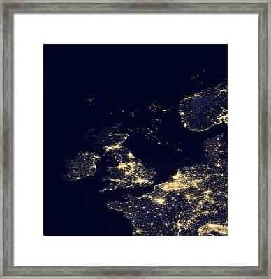 North Sea At Night, Satellite Image Framed Print by Science Photo Library