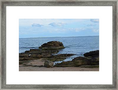 Framed Print featuring the photograph North Sea By The Rocks by Karen Kersey