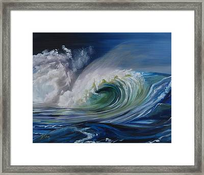 Framed Print featuring the painting North Shore Curl by Donna Tuten