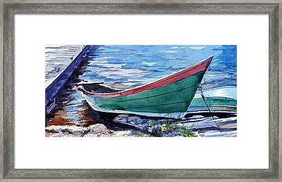 North Shore Fishing Skiff Framed Print by Spencer Meagher