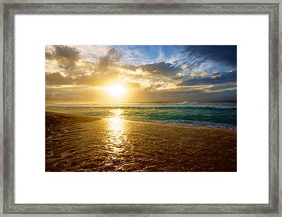 North Shore Oahu Sunset Framed Print