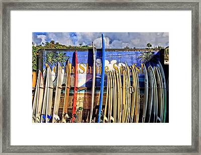 North Shore Surf Shop Framed Print