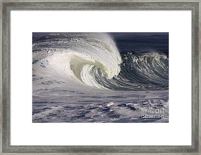 North Shore Wave Curl Framed Print by Vince Cavataio