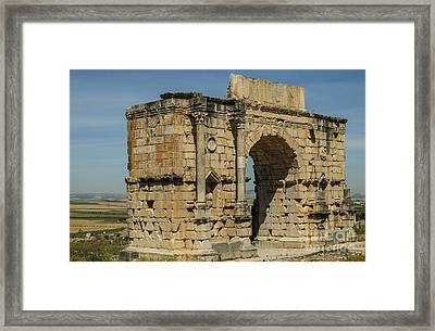 North Side Of The Arch Of Caracalla At Volubilis Framed Print by Patricia Hofmeester