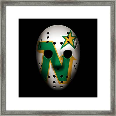 North Stars Goalie Mask Framed Print