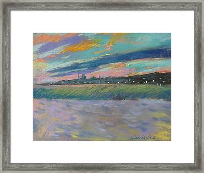 Framed Print featuring the painting North Truro Sunset by Linda Novick