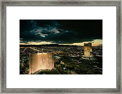 North Vegas Strip At Twilight Framed Print by Chris Bordeleau