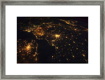 North-western Europe At Night, Iss Image Framed Print by Science Photo Library