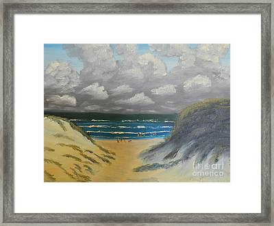 Framed Print featuring the painting North Windang Beach by Pamela  Meredith