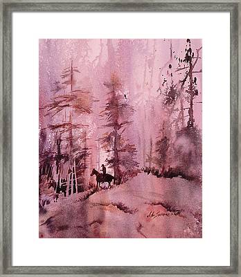 Framed Print featuring the painting North Woods by John  Svenson