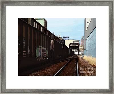 Northbound Freight To Milwaukee Framed Print by David Blank