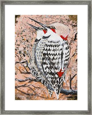Framed Print featuring the painting Northern Flickers by Cathy Long
