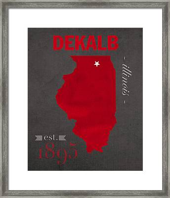 Northern Illinois University Huskies Dekalb Illinois College Town State Map Poster Series No 079 Framed Print