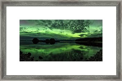 Northern Lights Above Sunshine Cove Framed Print by John Hyde