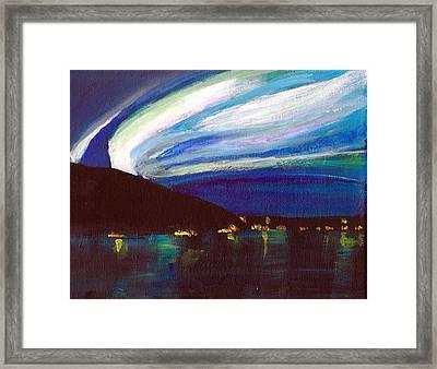 Northern Lights Bay Framed Print by Audrey Pollitt
