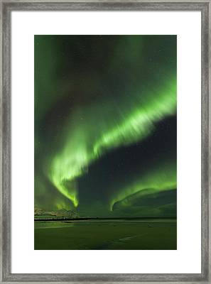 Northern Lights Lofoten Islands Norway Framed Print by Sandra Schaenzer