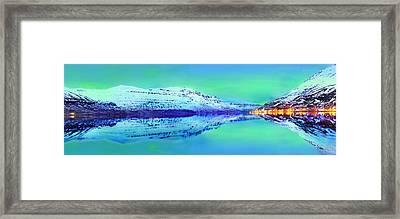 Northern Lights Over Iceland's East Fjords Framed Print