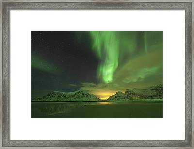 Northern Lights With Light Pollution Framed Print by Sandra Schaenzer