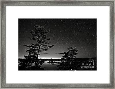 Northern Starry Sky Black White Framed Print by Charline Xia