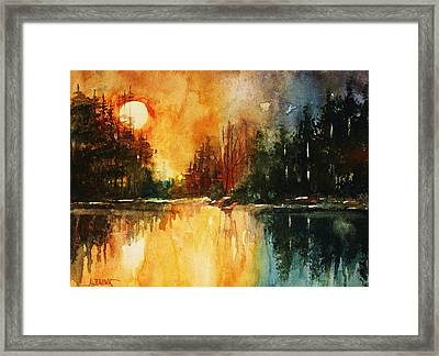 Framed Print featuring the painting Northern Sunset by Al Brown