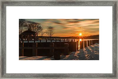 Northport New York Winter Sunset Framed Print