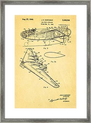 Northrop All Wing Airplane Patent Art 2 1946 Framed Print by Ian Monk
