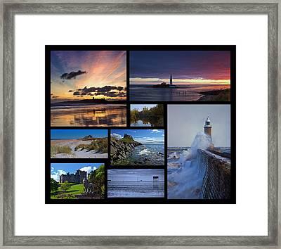 Northumbrian Castles And Coast Framed Print by David Pringle