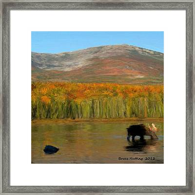Framed Print featuring the painting Northwest Moose by Bruce Nutting