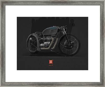 Framed Print featuring the drawing Norton Bobber by Jeremy Lacy