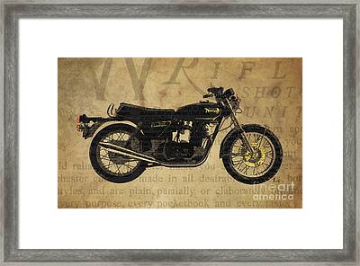 Norton Commando 850 1973 And The Newspaper Collage Framed Print by Pablo Franchi