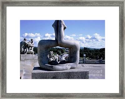 Norway Frogner Park Framed Print by Ted Pollard