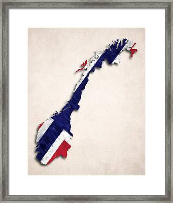 Norway Map Art With Flag Design Framed Print