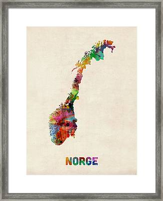 Norway Watercolor Map Framed Print