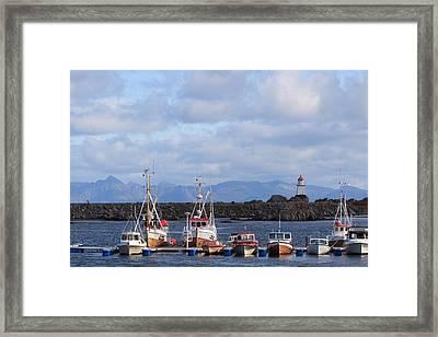 Norwegian Fishing Port Framed Print