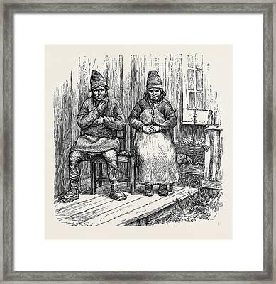 Norwegian Lapps, 1870 Framed Print by English School