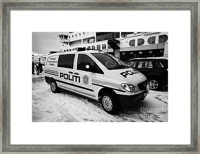Norwegian Police Vehicle Outside Nordkapp Police Station Honningsvag Finnmark Norway Europe Framed Print