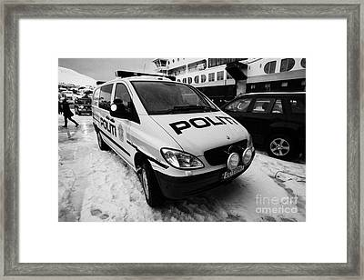 Norwegian Police Vehicle Outside Nordkapp Police Station Honningsvag Finnmark Norway Framed Print