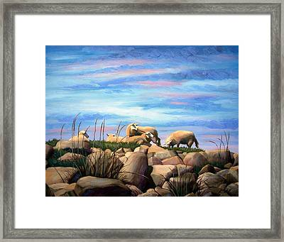 Framed Print featuring the painting Norwegian Sheep by Janet King