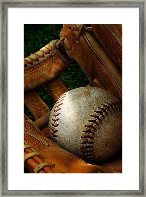 Nostalgic Baseball And Glove Framed Print