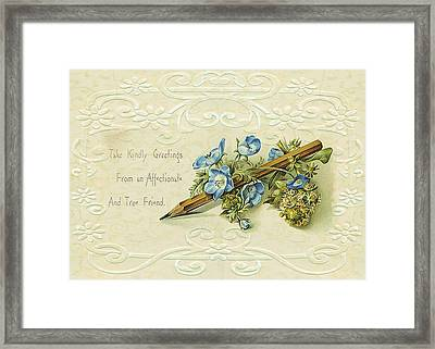 Framed Print featuring the digital art Nostalgic Greeting Card by Sandra Foster