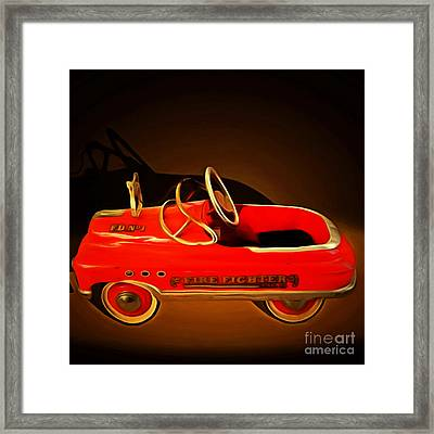 Nostalgic Vintage Toy Fire Engine 20150228 Square Framed Print by Wingsdomain Art and Photography