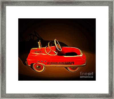 Nostalgic Vintage Toy Fire Engine 20150228 Framed Print by Wingsdomain Art and Photography