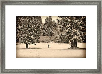 Nostalgic Winter Walk In The Snow Framed Print by Jennie Marie Schell