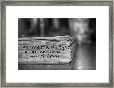 Not Alone Bw Framed Print by Angelina Vick