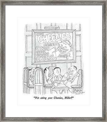 Not Eating Your Cheezies Framed Print by Gahan Wilson