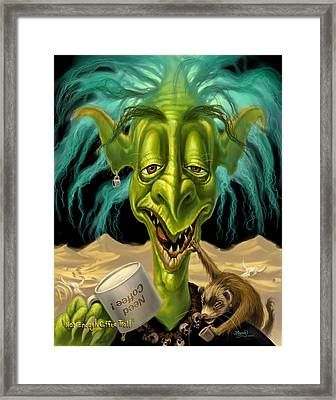 Not Enough Coffee Troll Framed Print by Jeff Haynie