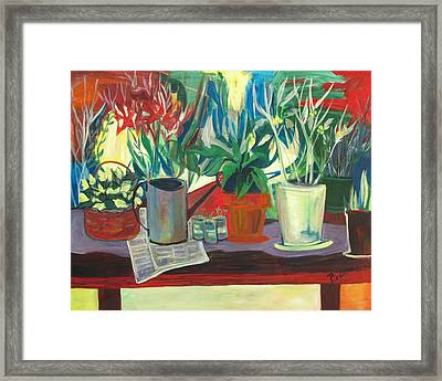 Not Your Grandpa's Potting Stand Framed Print